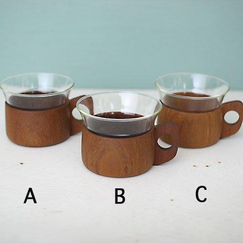 GERMANY JENA GLASS CUP & TEAK HOLDER