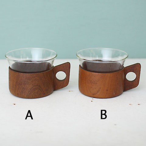 GERMANY JENA GLASS CUP & TEAK HOLDER