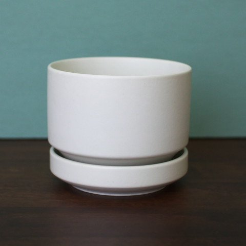 ARABIA FINLAND MAT WHITE FLOWER POT (M)