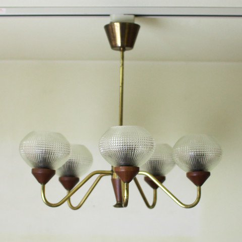 SWEDEN CLEAR GLASS/TEAK/BRASS CHANDELIER