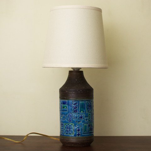 ITALY BROWN/BLUE PATTERN TABLE LAMP