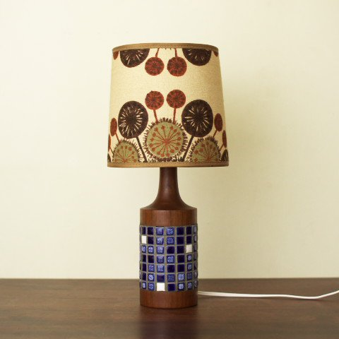 DENMARK SOLID TEAK/TILE TABLE LAMP