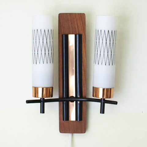 DENMARK TEAK BASE WHITE GLASS TWIN WALL LAMP