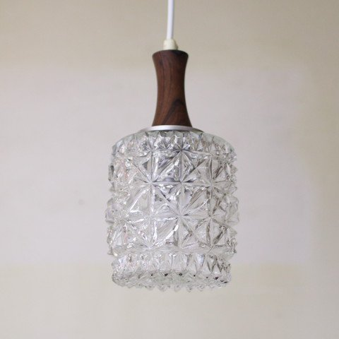 DENMARK CLEAR PRESSING GLASS/ROSEWOOD TOP LAMP