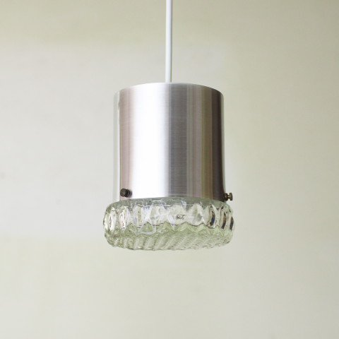 DENMARK SILVER/PRESSING GLASS SHADE LAMP