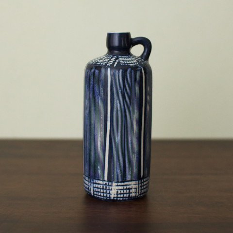 DENMARK AKSINI BLUE/WHITE SMALL HANDLE VASE