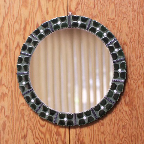 DENMARK GREEN/WHITE HAND MADE TILE MIRROR
