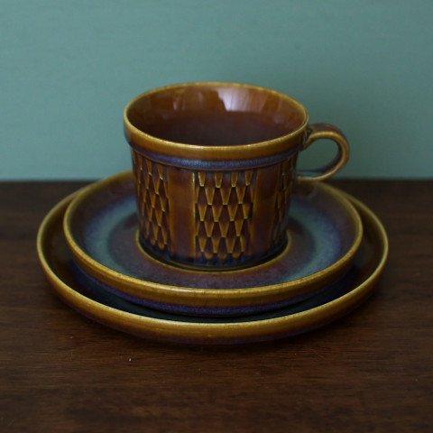 DENMARK SOHOLM Maria Philippi GRANIT BROWN TEA TRIO