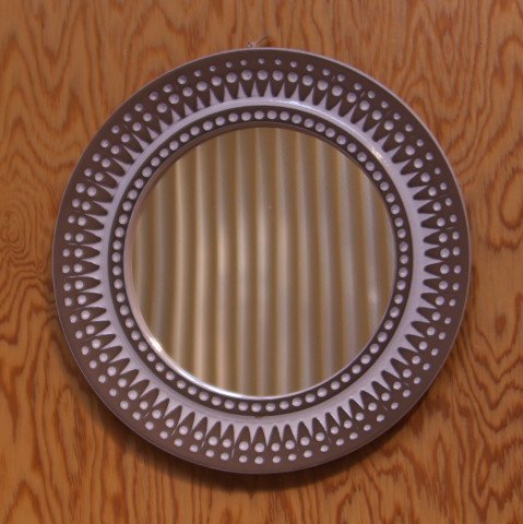 SWEDEN LT.BROWN/WHITE CERAMIC FRAME ROUND MIRROR