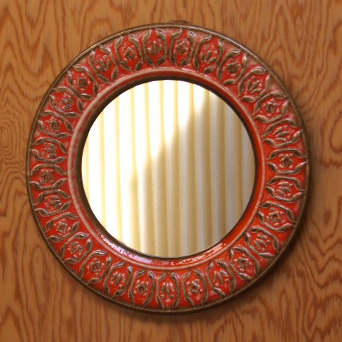 W.GERMANY ORANGE/BROWN CERAMIC FRAME ROUND MIRROR