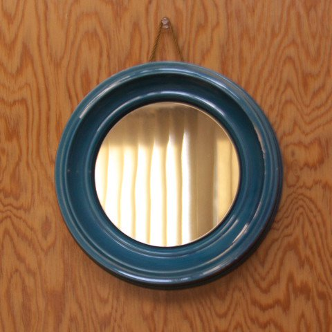 W.GERMANY SMF BLUE CERAMIC FRAME ROUND MIRROR
