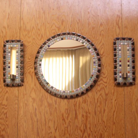 DENMARK MIXED COLOR HAND MADE TILE MIRROR SET