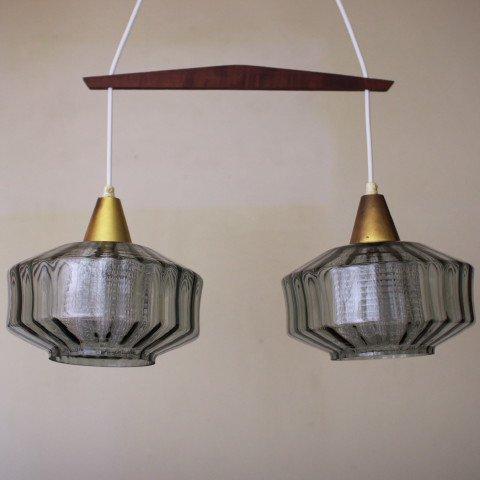 DENMARK SMOKE GREY DOUBLE GLASS SHADE TWIN LAMP