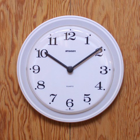 WEST GERMANY STAIGER WHITE/GREY PLASTIC CLOCK