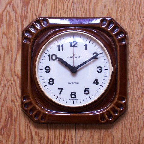 WEST GERMANY JUNGHANS BROWN CERAMIC CLOCK