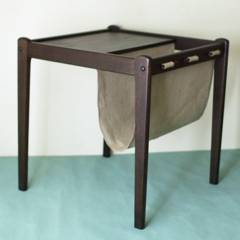 DENMARK BRDR.FURBO SOLID TEAK SIDE TABLE/W.MAGAZINE STAND