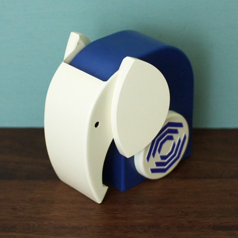 DENMARK BLUE/WHITE ELEPHANT COIN BANK
