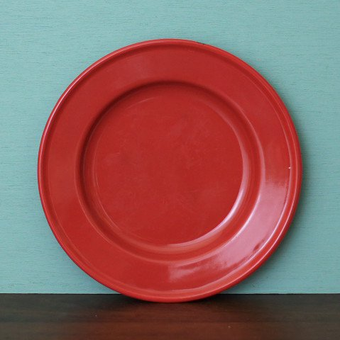 SWEDEN KOCKUMS CHERRY RED ENAMEL PLATE