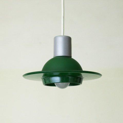 DENMARK GREEN GLASS UFO STYLE SHADE LAMP