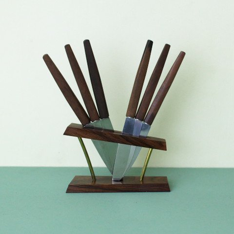 GERMANY SOLINGEN TEAK HANDLE FRUITS KNIFE SET/W ROSEWOOD STAND