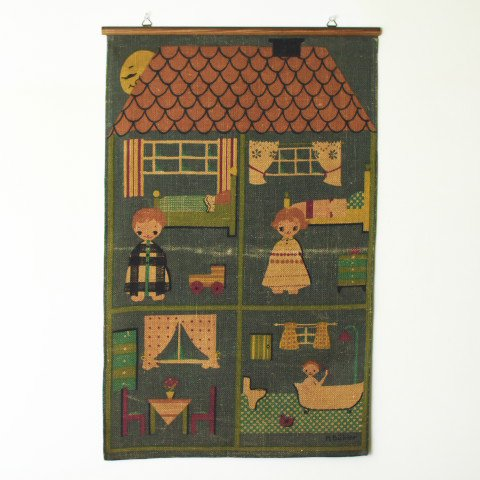 SWEDEN M BUHLER SWEDISH CUTE HOUSE TAPESTRY