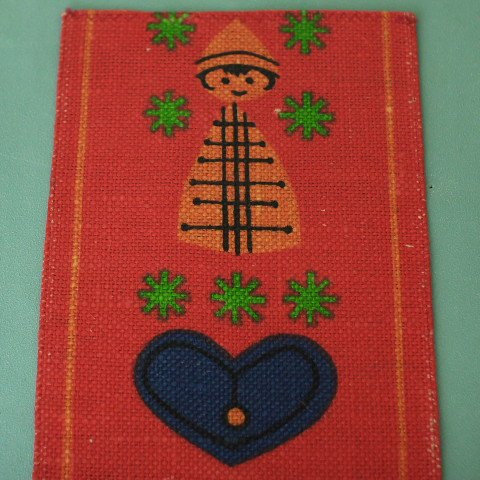 SWEDEN ORANGE TOMTE/BLUE HEARTS TABLE RUNNER