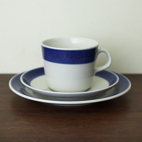 SWEDEN RORSTRAND KOKA BLUE COFFEE TRIO