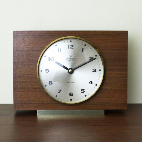 GERMANY JUNGHANS WOOD GRAIN PATTERN PLASTIC CLOCK