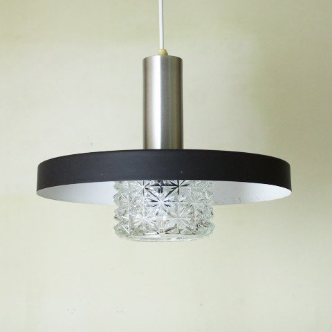 SWEDEN BLACK SHADE/CLEAR PRESSING GLASS SHADE LAMP