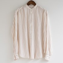 Hartford CODY ペンシルストライプのスタンドカラープルオーバーシャツ