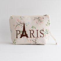Parisのお土産 キャンバスポーチ L flower