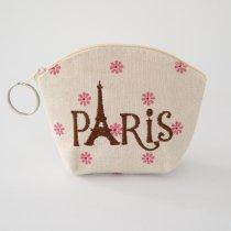 Parisのお土産 キャンバスポーチ S 花×ブラウンロゴ