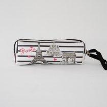 Parisのお土産 PVC素材 ポーチ ボーダー ペンケース