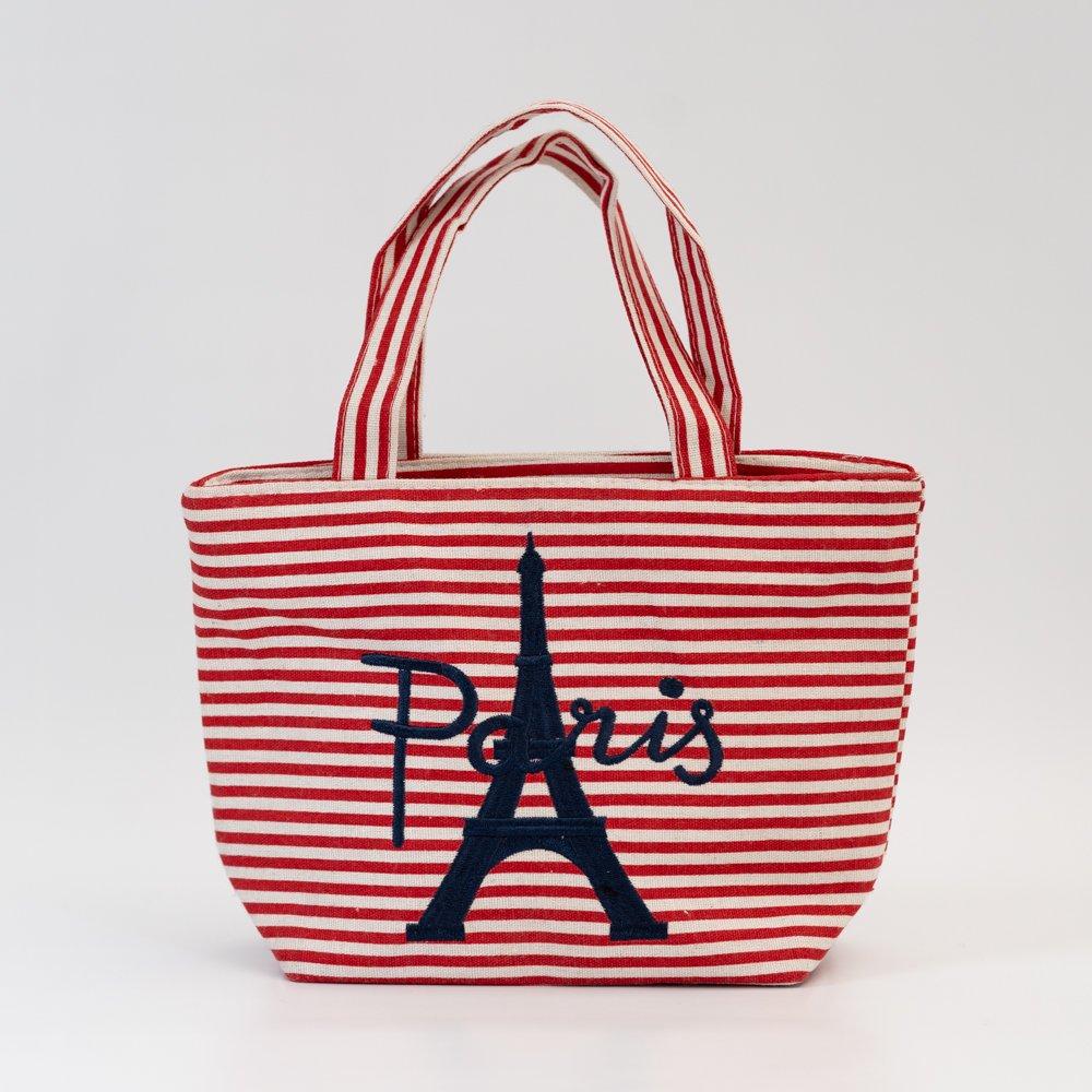 Parisのお土産 キャンバストートバッグ(S) ボーダー