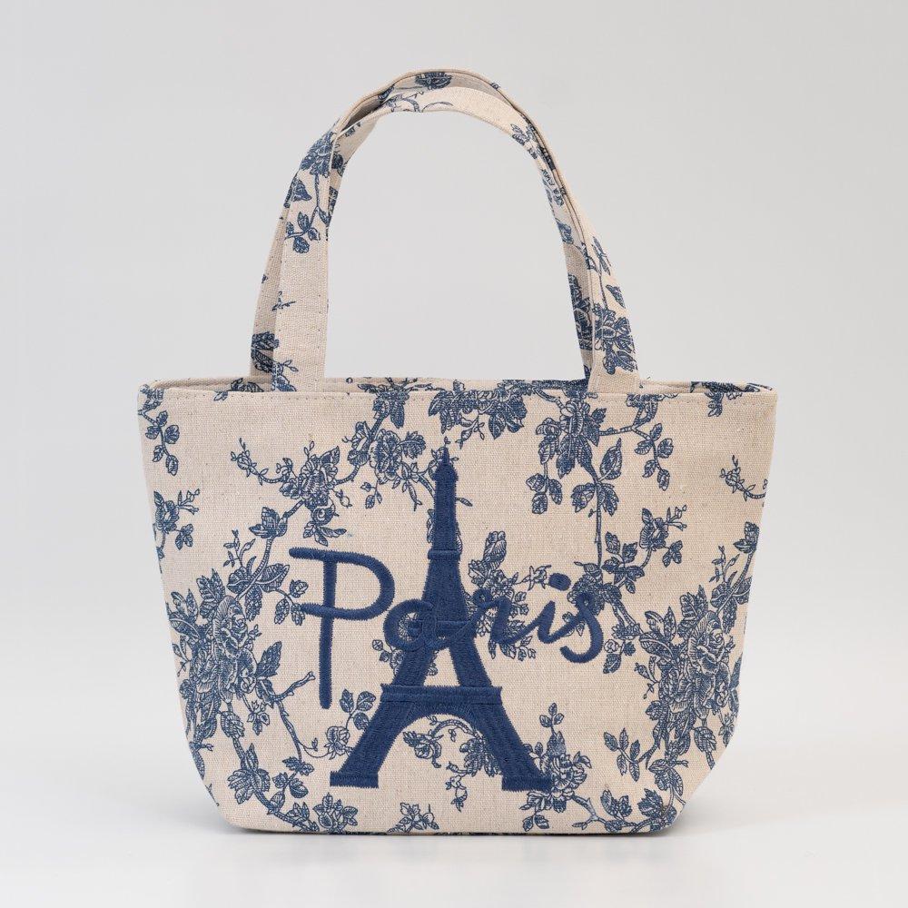 Parisのお土産 キャンバストートバッグ(S)フラワー