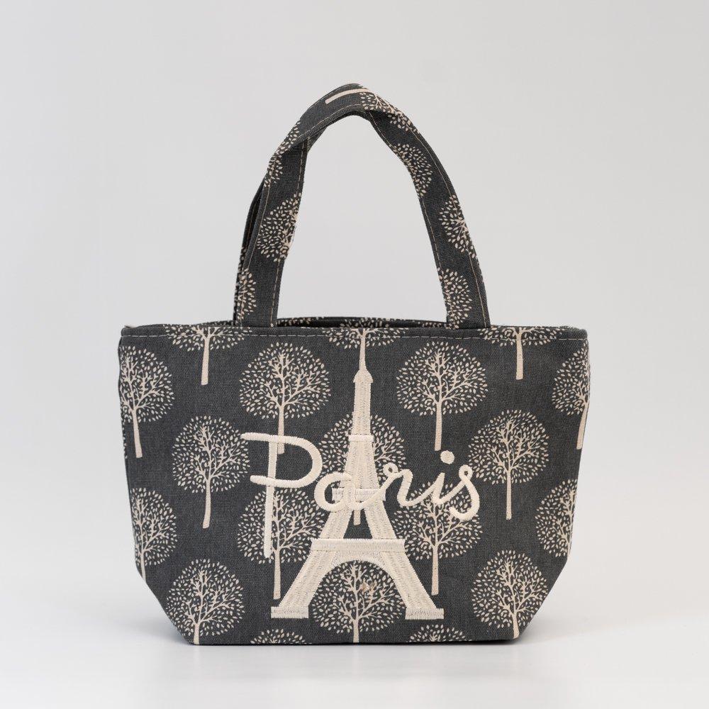Parisのお土産 キャンバストートバッグ(S)ツリー グレー