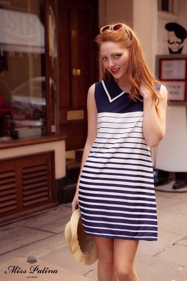 お取り寄せ!Miss Patina【ミスパティーナ】Jackie O Dress (navy stripe)/テイラースウィフト愛用