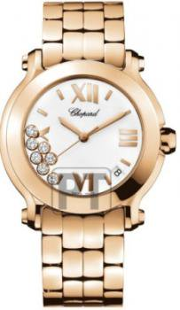 Chopard Happy Sport II Ladies Rose Gold Diamond Watch 277472-5001