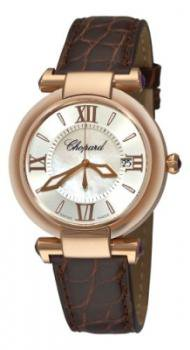 Chopard Imperiale Womens Rose Gold Brown Leather Strap Watch 384221-5001