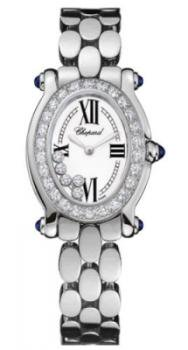 Chopard Happy Sport Oval White Gold Diamond Mini Women's Watch 277466-1003