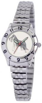American Kennel Club Women's D1649S244 Miniature Schnauzer Silver-Tone Expansion Band Watch
