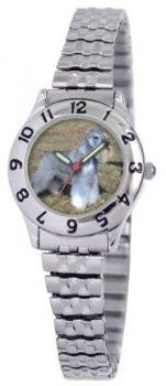 American Kennel Club Women's D1674S244 Miniature Schnauzer Silver-Tone Expansion Band Watch