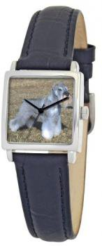 American Kennel Club Women's D1774S010 Miniature Schnauzer Silver-Tone Black Leather Watch