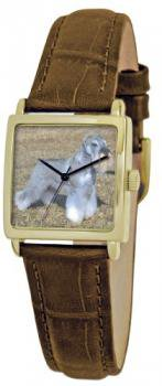 American Kennel Club Women's D1774S011 Miniature Schnauzer Gold-Tone Brown Leather Watch