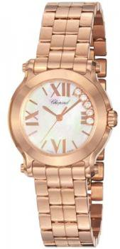 Chopard Happy Sport Round Ladies Rose Gold Diamond Watch 274189-5003