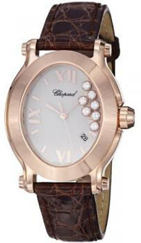 Chopard Happy Sport Oval Ladies Rose Gold Brown Leather Strap Watch 275350-5001