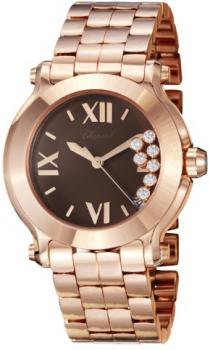 Chopard Happy Sport Round Ladies Brown Dial Rose Gold Diamond Watch 277472-5006