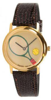 Women's Gold-Tone Tennis Racquet with Rotating Ball Brown Leather Strap Watch # 6515GG-brownlizard