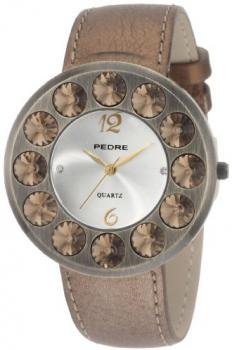 Pedre Women's 7720GX Antique Gold-Tone with Bronze Leather Strap Watch