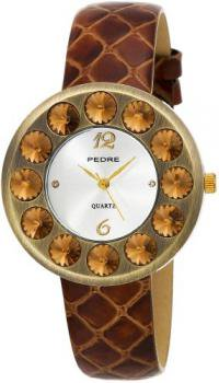 Pedre Women's 7720GX Antique Gold-Tone with Brown Leather Strap Watch